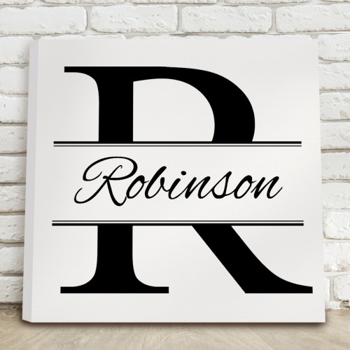 Black and White Stamped Design Canvas