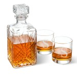 Bormioli Rocco Selecta Square Decanter with Stopper and 2 Low Ball Glass Set