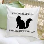 Cat Silhouette Throw Pillow - Script