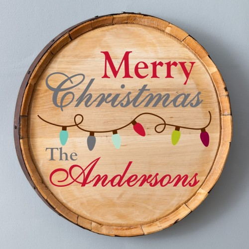 Christmas Wood Barrel Sign - Lights