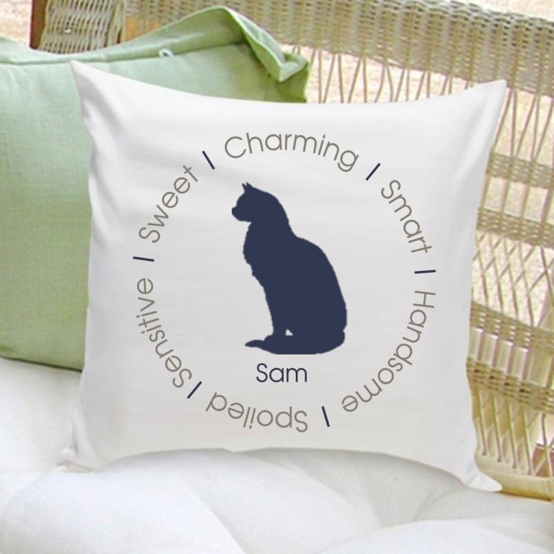 Smokey Blue Throw Pillows : Circle of Love Cat Silhouette Throw Pillow - Smokey Blue housewarmingandbeyond.com