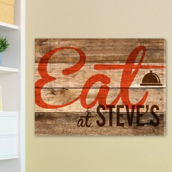 Customized Wood Restaurant Sign Canvas Print