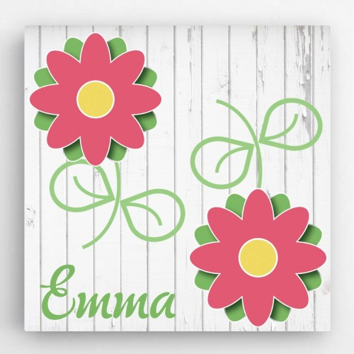 Personalized Flowers Kids Canvas Sign