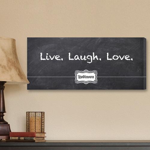 Personalized Live, Laugh, Love Chalkboard Canvas Print