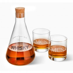 Personalized Whiskey Decanter in Wood Crate with set of 2 Lowball Glasses