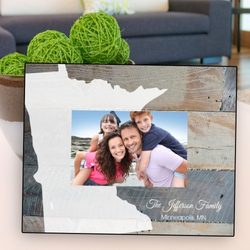 Rustic wood State Picture Frame