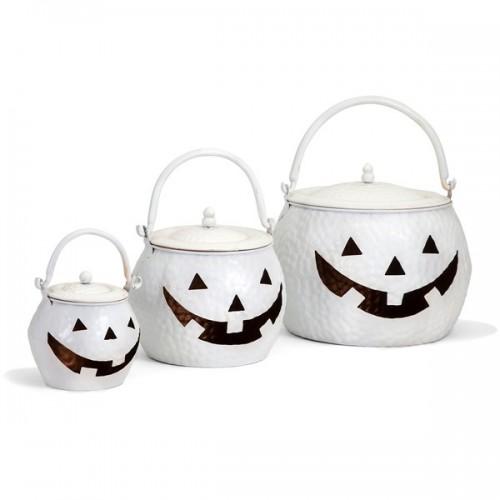 Lidded Pumpkins Shinny White - Set of 3