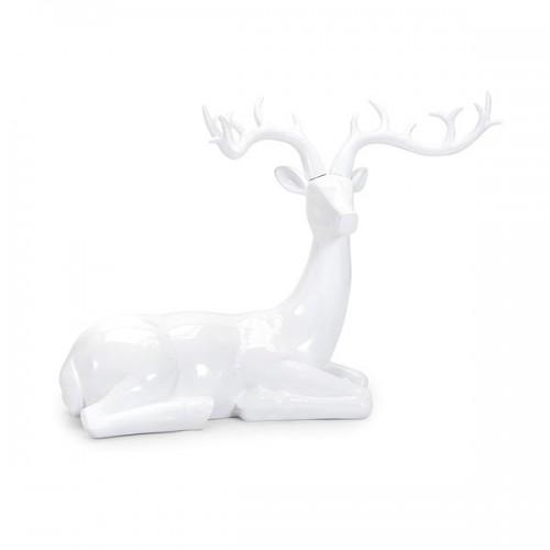 Playful Reindeer- White (antlers KD)-Sitting