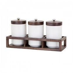 Christine Canisters in Wood Caddy - Set of 4