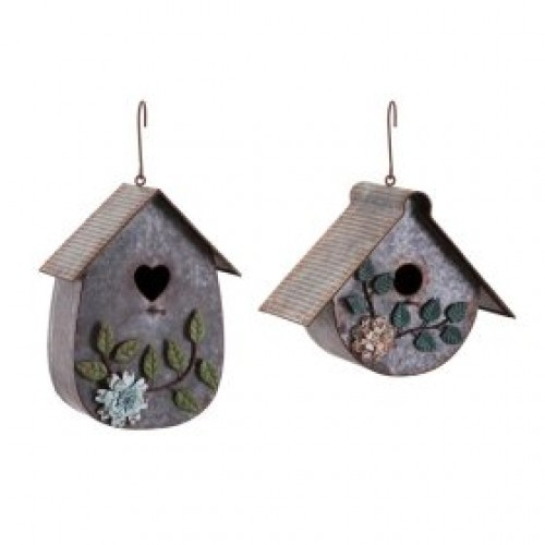 Tin Roof Bird Houses - Ast 2