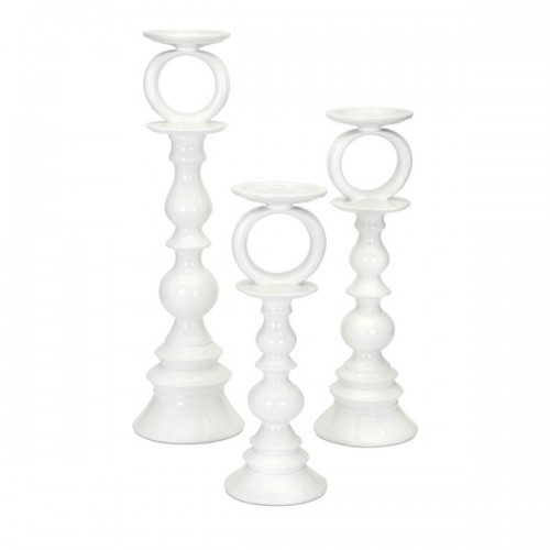 Concepts Eclipse White Candleholders - Set of 3