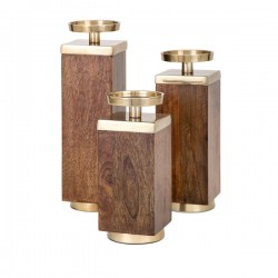 Concepts Eden Wood Candleholders - Set of 3